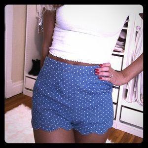 Blue polka dot scallop shorts